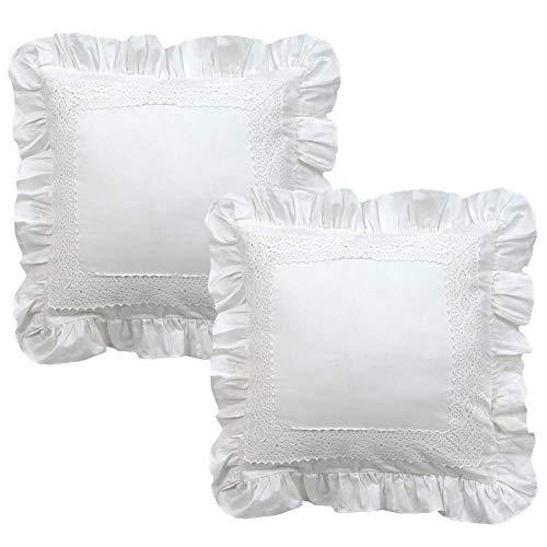 TEALP Fundas de cojín Blanco Volantes de Encaje Diseño Vintage Funda de Almohada de algodón 100% 2 Piezas Funda de Almohada de decoración para el hogar con Cremallera Invisible 60x60cm