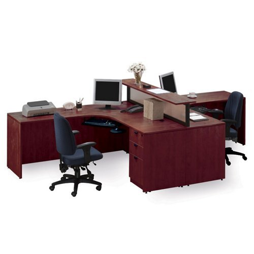 Amazon Com Cherry Two Person Workstation With Divider Furniture Decor