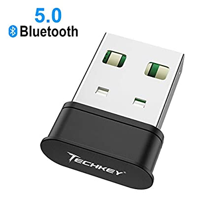 Bluetooth Adapter for PC?Techkey USB Mini Bluetooth 5.0 EDR Dongle for Computer Desktop Wireless Transfer for Laptop Bluetooth Headphones Headset Speakers Keyboard Mouse Printer Windows 10/8.1/8/7