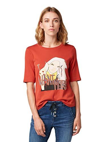 TOM TAILOR Damen T-Shirts/Tops Nena & Larissa: T-Shirt mit Print-Motiv Dry red,M,19194,4556