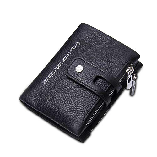 FANDARE Portafoglio Uomo Donna Corto Portafogli Pelle Portafoglio Pieghevole, con porta carte di credito, portamonete porta tessere Nero