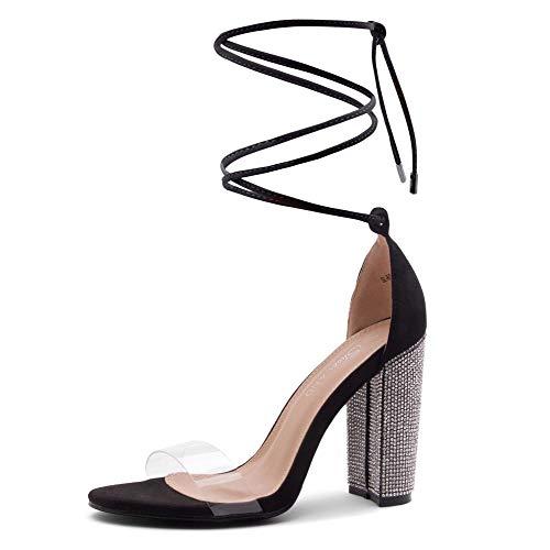 Shoe Land SL-ROSEMMINA Women's Rhinestone Open Toe Lace Up Chunky High Heel Sandals Clear Fashion Dress Pumps Wedding Bride Shoes 2020ClearBlack 11.0