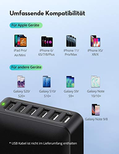 RAVPower USB Ladegerät 6-Port 60W USB Ladestation Mehrfach mit iSmart Technologie für iPhone 11/12 Pro Max XS XR, iPad Air Pro, Galaxy S9 S8 Plus, LG, Huawei, HTC, Smartphones, Tablets, MP3 usw
