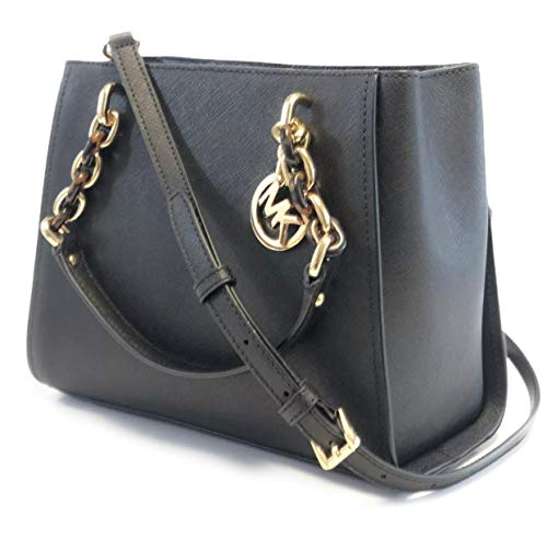 "Saffiano leather Removable and adjustable crossbody strap, wear two ways, crossbody or over the shoulder Top snap closure with zipped middle compartment Inside 1 Zip Pocket And 7 Slip Pockets Measures approximately 9.5"" (L) x 8"" (H) x 4.5"" (W) with a..."