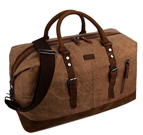 BAOSHA BAOSHA Gewachste Segeltuch Herren Reisetasche Übergroße Weekender Tasche Canvas Travel Bag Handgepäck for Männer Wasserdicht HB-14 (Braun)