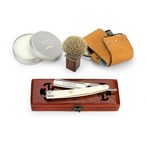 """Bild des Produktes 'A.P. Donovan - Solides Rasiermesser 7/8"""" - weißer Kunststoffgriff (Klinge nicht rostfrei), Komplettset mit Seife, Pinsel, Streichriemen + Paste'"""