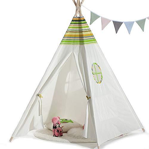 Tipi tent voor kinderen Kleur Groen Gestreept For Kinderen Tent Binnen Buiten Speelhuis Kasteel Tent Indiase Baby Speelgoed Tent Gebruik binnen en buiten (Color : C1, Size : As shown)