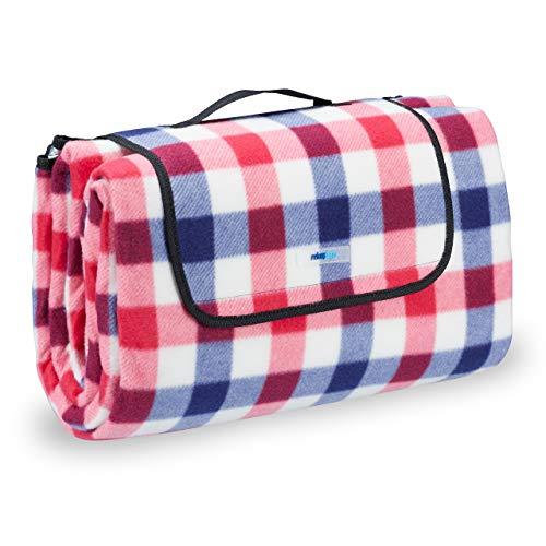 Relaxdays Picknickdecke Fleece, wasserdichte Stranddecke, wärmeisoliert, mit Tragegriff, XXL 200x200cm, rot-blau kariert