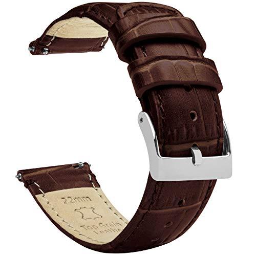 22 mm marrón café – Longitud estándar – Barton grano de cocodrilo – Correa de reloj de cuero de liberación rápida
