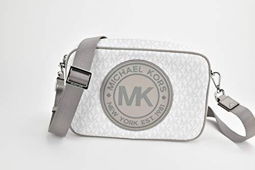 Michael Kors Fulton Sport - Bolso bandolera de PVC, diseño de monograma, tamaño mediano, color Blanco, talla Medium