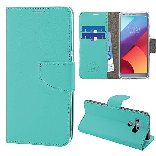 N NEWTOP Cover Compatibile per LG G6, HQ Lateral Custodia Libro Flip Chiusura Magnetica Portafoglio Simil Pelle Stand (Turchese)