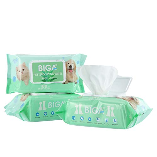 Deodorizing Hypoallergenic Pet Wipes with Fragrance Free Natural Organic for Cleaning Face Butt Eyes Ears Paws Teeth 100ct per Pack