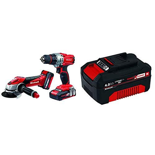 Einhell Expert Kit con Taladro TE-CD 18/2 Li y Amoladora TE-AG 18 Li de 18V con 2 baterías de litio de 1,5Ah + 4511396 Power X-Change - Batería de repuesto, 18 V, 4.0 Ah, duración carga de 60 minutos
