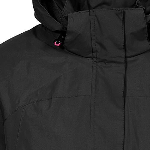 Trespass Nasu II, Black, XL, Wasserdichte Jacke mit einrollbarer Kapuze für Damen, X-Large, Schwarz