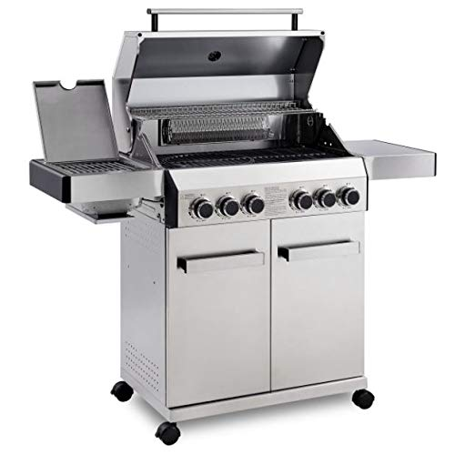 CosmoGrill Outdoor Barbecue 4+2 Platinum Stainless Steel Gas Grill BBQ (Silver)