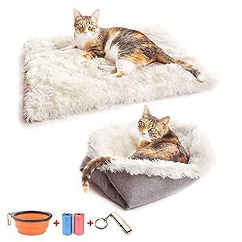 TVMALL Panier Chat Chien 2 en 1 Coussin moelleux pour Petit chien Lits pour Chats Carré Matelas pour Chats Couverture Chien lavable Corbeilles pour chats Convient pour chiot/chat,améliorer le sommeil