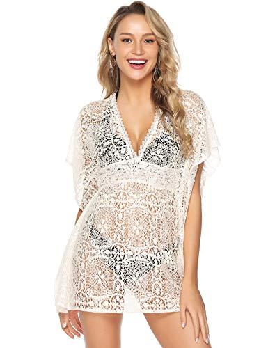 Abollria Damen Spitzen Strandkleid Durchsichtig V Ausschnitt Bikini Cover Up Locker Strand Kimono für Urlaub,Beige,L