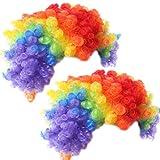 Nuluxi Pagliaccio Parrucca Divertenti Costume Parrucca Arcobaleno Clown Parrucca Afro Riccia Pagliaccio Parrucchini Cosplay Esplosive Oggetti di Scena per Costumi da Festa in Maschera per Carnevale