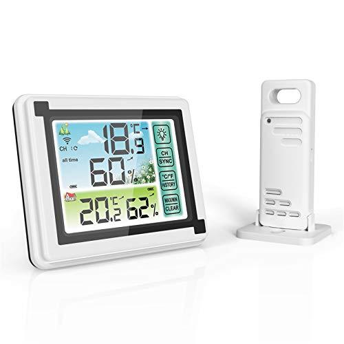 AVNICUD Wetterstation, Thermo Hygrometer Digital, Innen-und Außenraumthermometer, Digitales Thermometer Funk mit Außensensor, Wetter Station with LCD HD Color Screen