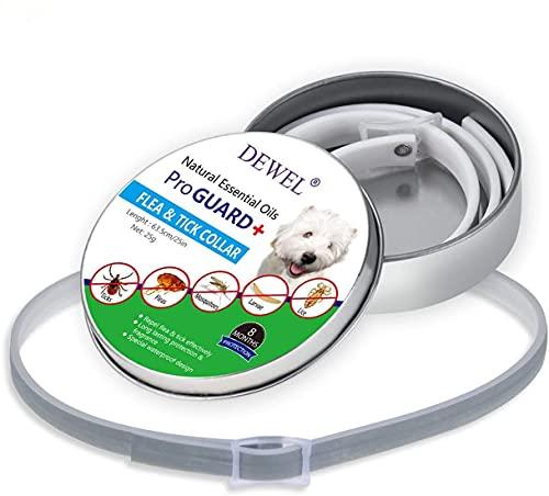 Collar Ajustable para pulgas y garrapatas para Perros/Gatos, 8 Meses de protección, Collar antiparasitario para Gatos y Perros, Collares para Control de plagas para Mascotas, Impermeable