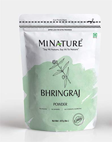 Bhringraj Powder (Eclipta Prostrata ) by mi nature | 227g (8 oz)(0.5 lb) | 100% Natural and Pure | Hair Growth | Hair Pack | Improves Hair quality | Resealable zip lock pouch