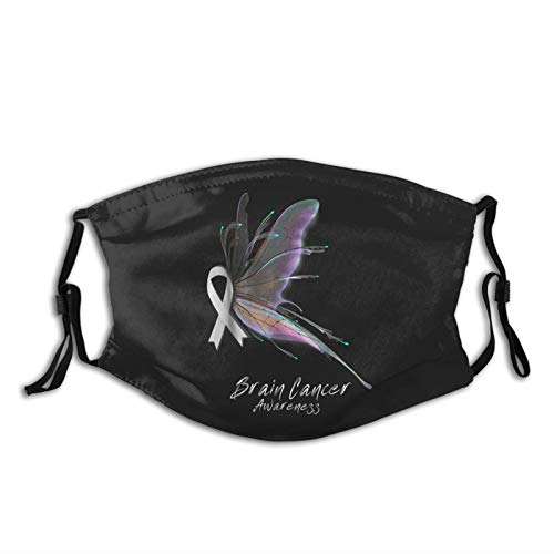 Brain Cancer Awareness Face Mask Reusable Washable Scarf Anti Dust Bandanas for Women Men with 2 Filter