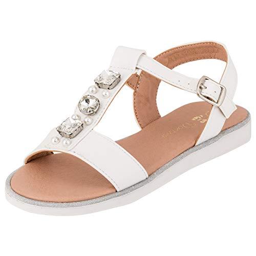 Modische Mädchen Sandalen Sandaletten Kinder Schuhe in Glitzeroptik M553ws Weiß 34 EU