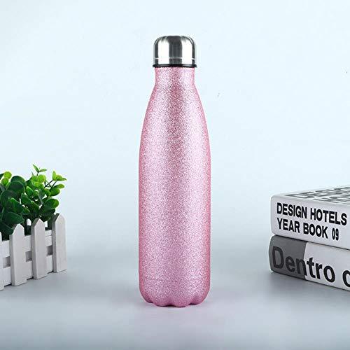 Viner Thermosfles Dubbelwandige geïsoleerde thermosfles Roestvrijstalen waterflessen Sport Thermosflessen Cup, roze, logo op maat