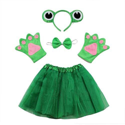 Disfraz de rana de carnaval de Lot - rana - para nia - tut - diadema - guantes - pajarita - disfraz - accesorios - halloween - cosplay - color verde papillon cosplay