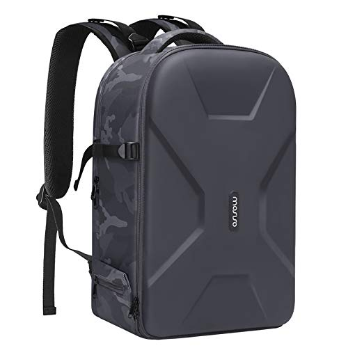MOSISO Camera Backpack,DSLR/SLR/Mirrorless Photography Camera Bag Camouflage Waterproof Hardshell Case with Tripod Holder&Laptop Compartment Compatible with Canon/Nikon/Sony/DJI Mavic Drone, Gray