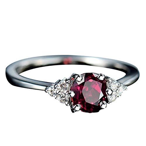 Anillo de dedo Benoon, anillo de dedo para mujer, imitación de zafiro granate esmeralda piedra preciosa dedo anillo de boda joyería regalo - rojo oscuro US 10