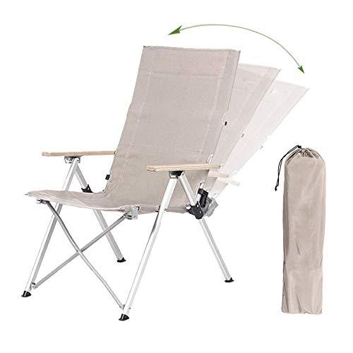 TTivxe Silla plegable al aire libre de tres velocidades ajustable de la espalda larga de la silla de camping al aire libre reclinable picnic playa de relajación silla