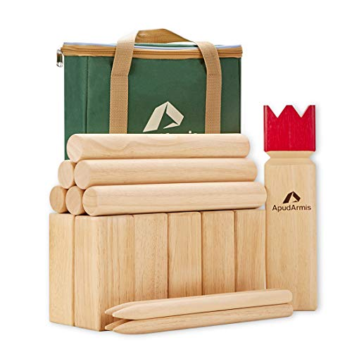 ApudArmis Kubb Yard Game Set, Viking Chess Outdoor Clash Toss Yard Game with Carrying Case - Rubber Wooden Backyard Lawn Games Set for Kids Adults Family