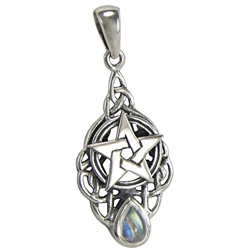 Sterling Silver Celtic Knot Pentacle Pendant with Natural Rainbow Moonstone