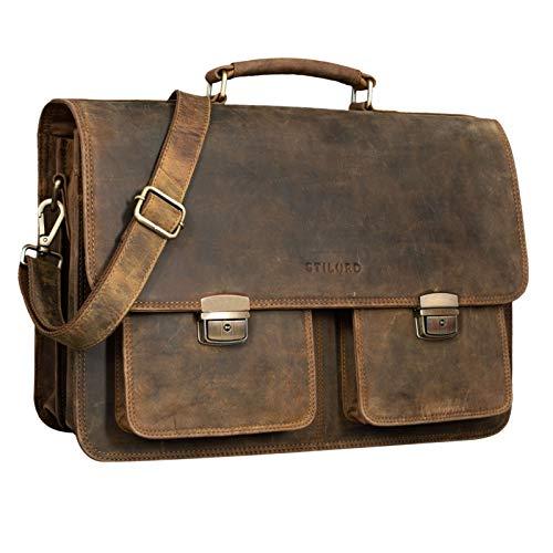 STILORD 'Arno' Briefcase Bag Leather XL Vintage Laptop Bag for 15,6 to 17 inch Satchel Large Shoulder Bag for Teacher School Business Work Trolley, Colour:Middle Brown