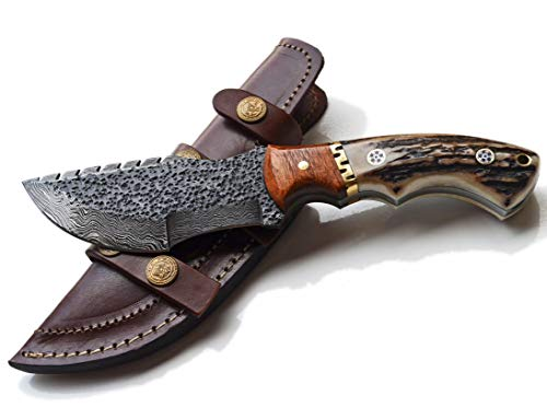 Tracker Knife - Stag Handle, Hammered Damascus Hunting Skinning Knives Blades Blade Knife