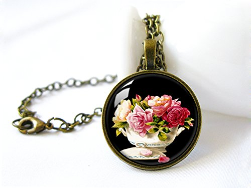 Retro Handmade Glass Dome Necklace, Roses in Pot Necklace