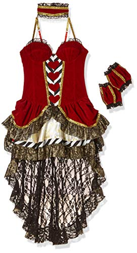 Atixo Damen 13189 Alice-im-Wunderland-Kostüm, Größe:L, rot/schwarz/Weiss, L