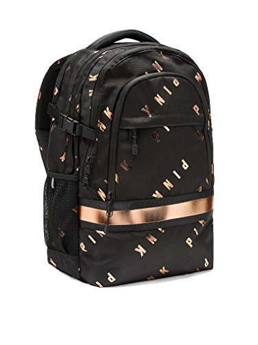 Victoria's Secret Pink Collegiate Backpack School Bag Black Copper Foil