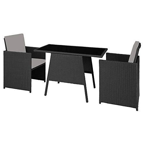 Chicreat Klappbares Polyrattan-Set, 2 Stühle inkl. Sitz- und Rückenkissen und 1 Tisch mit Glasplatte