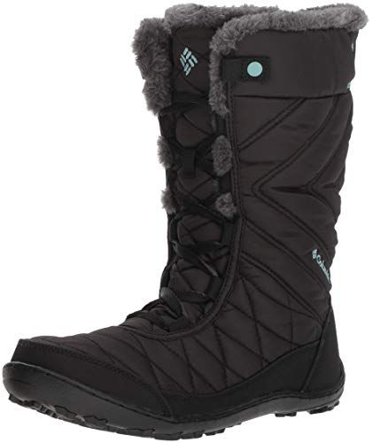 Columbia Girls' Youth Minx MID III Waterproof Omni-Heat Hiking Boot, black, iceberg, 3 Regular US Little Kid