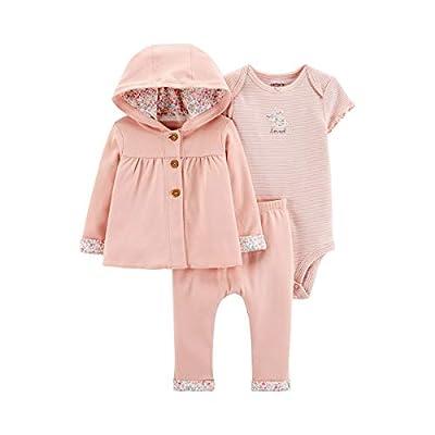 Carter's Baby Girls' 3-Piece Giraffe Little Cardigan Set - Pink Floral (12 Months)