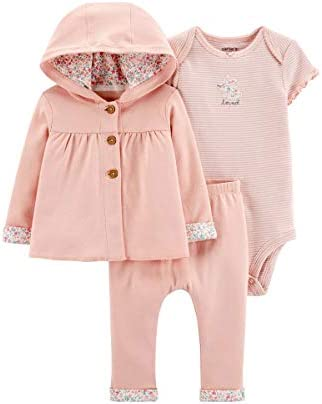 Carter s Baby Girls 3 Piece Giraffe Little Cardigan Set Pink Floral 9 Months product image