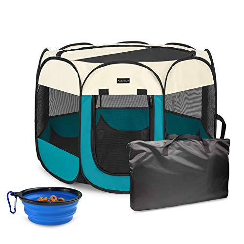 Autokcan Dog Playpen, Waterproof Portable Foldable Pet Playpen Dog Tent Indoor/Outdoor Use for Small Medium Dogs Cats with Collapsible Travel Bowl