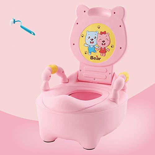 MTX-RM - Inodoro para niños, orina de bebé, acolchado de poliuretano, respaldo de seguridad, reposabrazos de seguridad, inodoro tipo cajón, antideslizante y a prueba de salpicaduras, almohadilla dura rosa