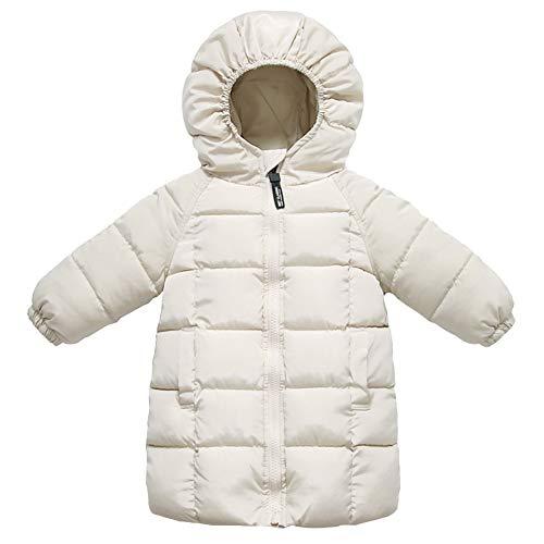 LSHEL - Abrigo de plumas para niño, grueso, de manga larga, de algodón acolchado, para niño o niña beige 1-2 Años