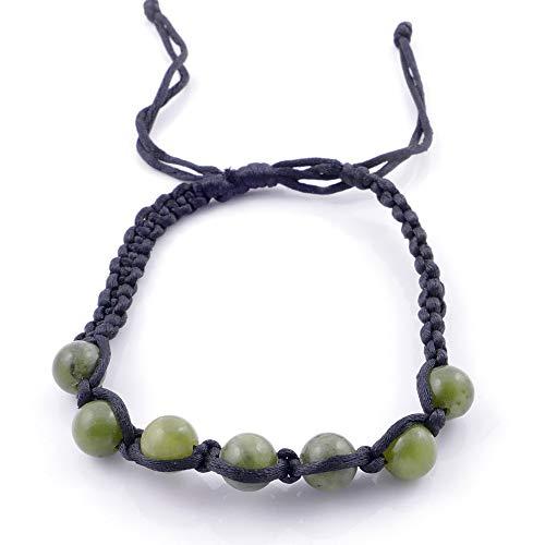 ARITZI – Pulsera con Nudo corredizo con Bolas de Piedra Natural de 8 mm – Piedras de Jade Vietnamita
