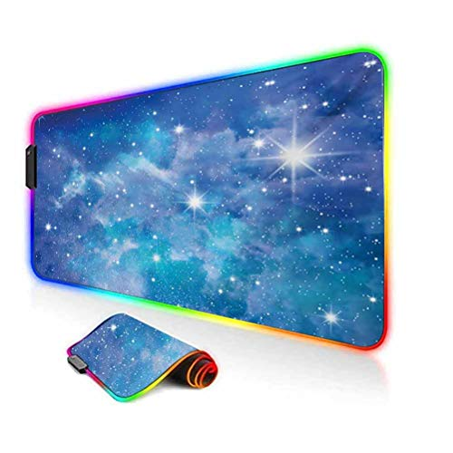 RGB Gaming Mouse Pad Mat,Vibrant Star Clusters Constellation Dusty Deep Interstellar Ethereal Infinity Picture Image Non-Slip Mousepad Rubber Base,35.6'x15.7',for Game Players,Office,Study Blue