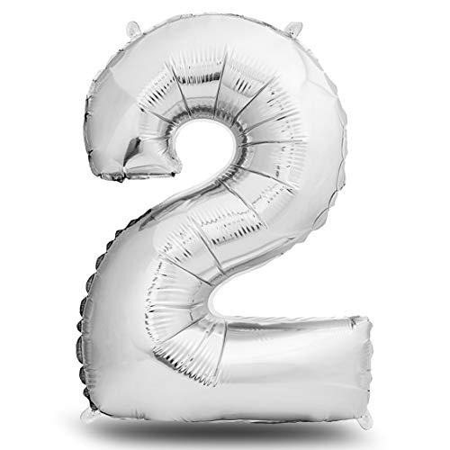 envami Folienluftballon Zahl XXL Silber I 101cm Geburtstagsdeko I Riesen Zahlenballon I Ballon Zahl Deko zum Geburtstag I fliegt mit Helium (Zahl 2)