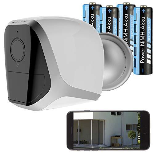 VisorTech WLAN Überwachungskamera: Full-HD-IP-Überwachungskamera mit App, 12 Monate Stand-by, 4 Akkus (Outdoor-IP-Überwachungskamera)